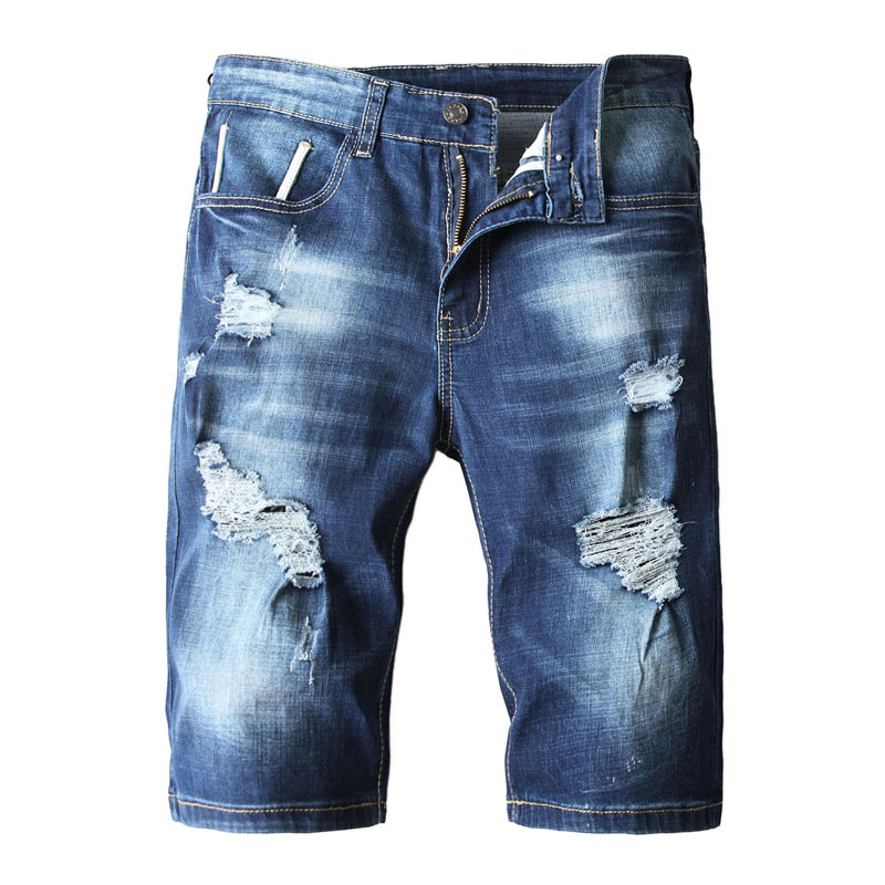 2019 Summer New Mens Jeans Shorts Ripped Jeans For Men Denim Shorts Street Youth Casual Beach Shorts Men Jeans Blue Color Pants