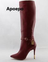 Apoepo High Quality Women Red Wine Leather Shoes Women Zipper Pointed Toe Knee High Boots Stiletto Heels Gold Lock Long Boots