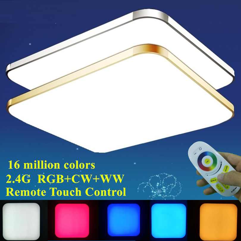 Modern Living Room Colorful RGB+Cold White+Warm White 2.4G RF Remote Control LED Ceiling Light Dimmable Smart Ceiling Lamp