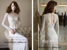 free shipping new hot casamento long sleeves luxury marriage beading BOW vestidos de novia bridal gown mother of the bride dress
