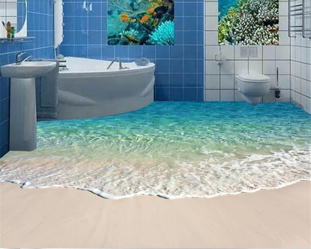 beibehang Beach Shell Sea Star Living Room Bathroom Floor Painted Wall Sticker PVC Picture Waterproof Self
