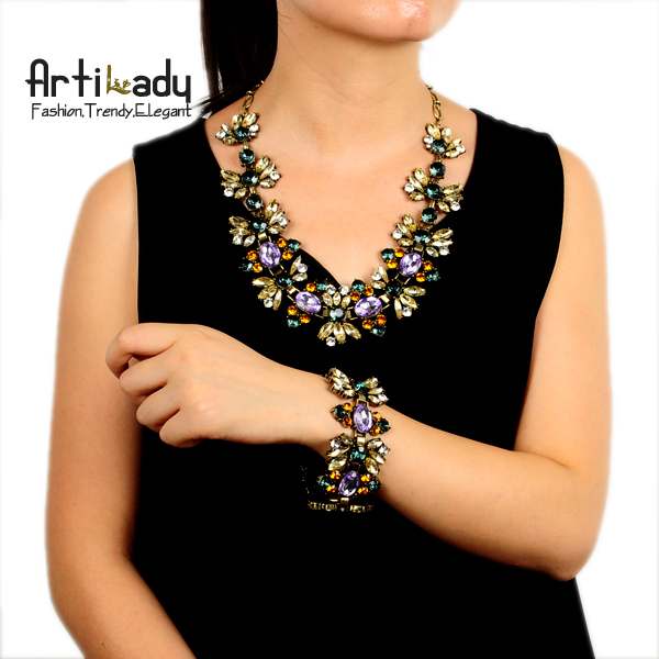 Artilady  gold big choker necklace fashion Jewelery crystal design vintage bracelet necklace sets sales for women free shipping
