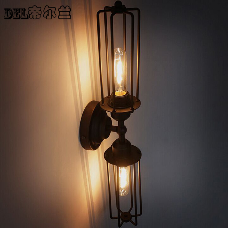 Iron wall lamp lights in the basement of simple American attic staircase aisle bed retro iron double bar lamp GY92 the buddha in the attic