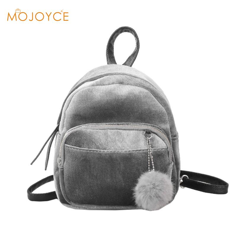 MOJOYCE Velvet Women Backpack Mochila Escolar Mini Backpack For Women Teenage Girls Female Ruckasck Fur Ball Student School Bags