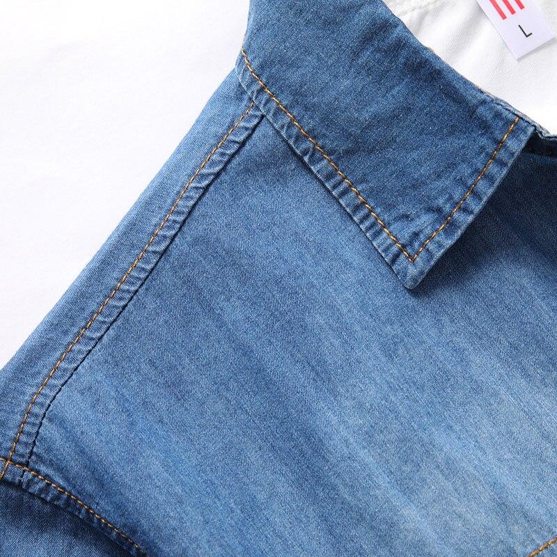 New Men's Denim Shirts Brand Leisure Cowboy Style Summer Cotton Short Sleeve Denim Shirt Camisa Jeans Masculina Slim Fit 8xl