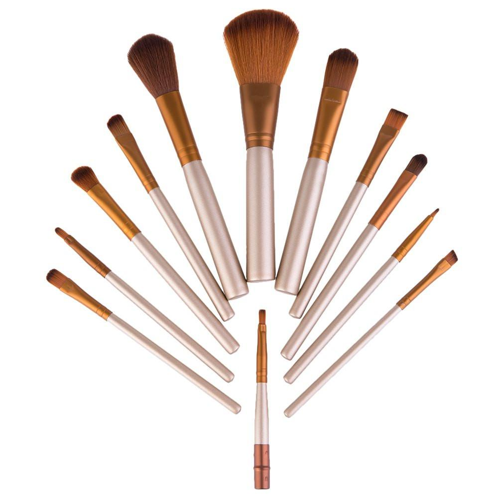 12pcs / Set Professional Foundation Makeup Brushes Set Cosmetic Tools Kit With Metal Box - 50 Sets / Pack1 free shipping multi function detectable rf lens detector full range wireless camera gps spy bug rf signal gsm device finder