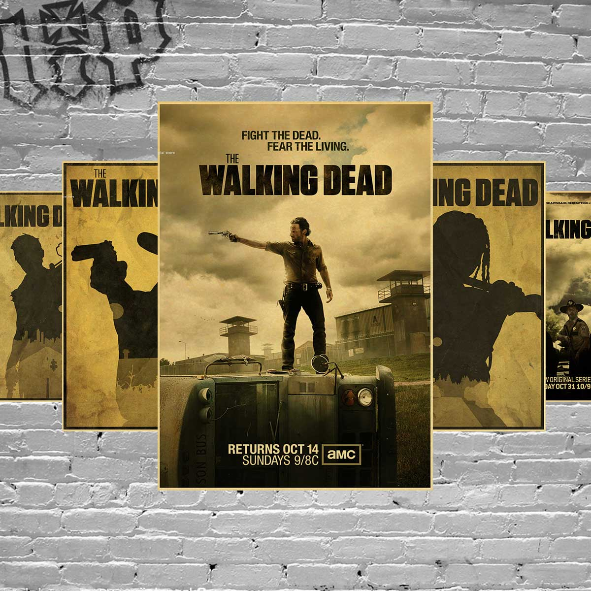 Custom retro wall decor the walking dead poster the for Mural walking dead