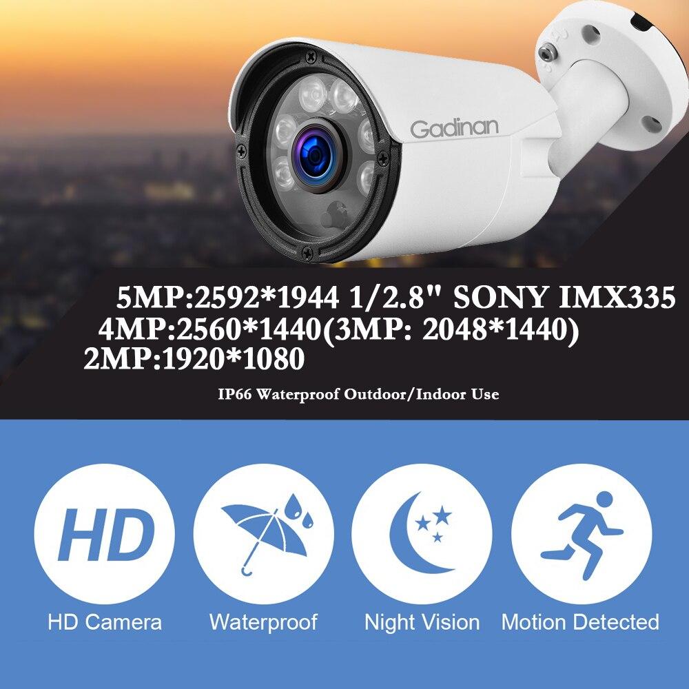 Gadinan 5MP 2592*1944 Sony IMX335 IP Bullet Camera 4MP 3MP 1080P POE H.265 Low illumination Metal Outdoor IR Night Vision Onvif