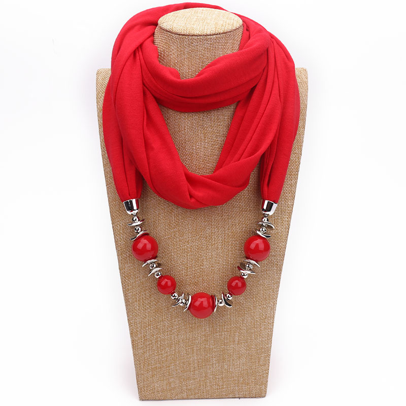 MadTide 2018 Cotton Scarf Beads Necklace Women Neckerchief