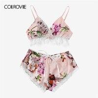 COLROVIE многоцветная кружевная отделка с цветочным принтом, сатиновое сексуальное женское белье, комплект, Boho, беспроводное нижнее белье, Femme, ...