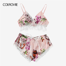 56d1dc307751 COLROVIE Multicolor Lace Trim Floral Print Satin Sexy Women Lingerie Set  Boho Wireless Intimates Femme Bra Underwear Set