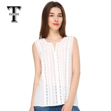 T Inside 2016 Summer Brand Women s Cotton Top Tees Blouse with Hollow Out Pattern Fashion