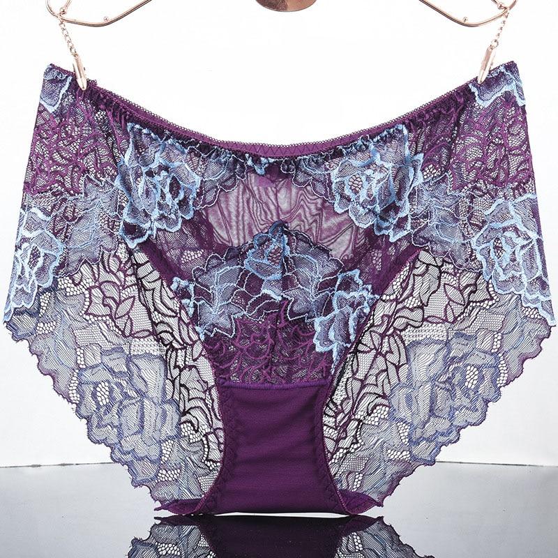 QA369 Elastic Waist Plus Size Briefs Sexy Transparent Underwear Comfortable Lace Women Panties New Lingerie
