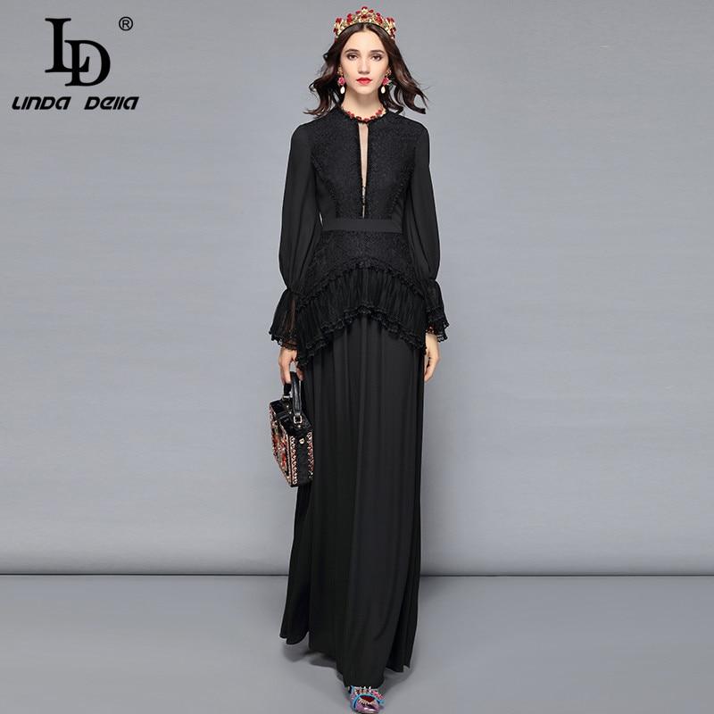 LD LINDA DELLA 2018 Automne Blanc Noir Robe Femmes de Fleur Dentelle Élégante Longue Robes de Soirée Étage Longueur Solide Formelle robe