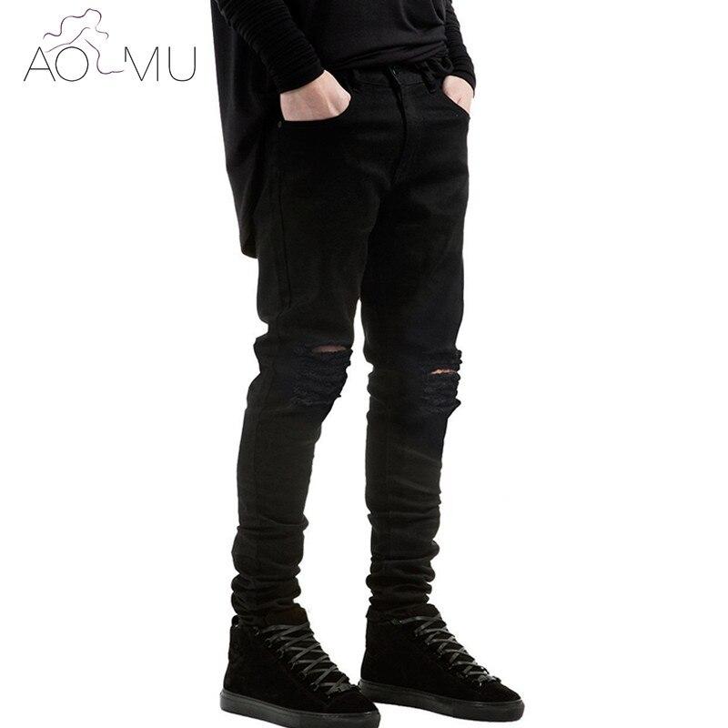 AOMU 2017 New Black Ripped Jeans Super Skinny Famous Designer Brand Slim Fit Jean Pants Scratched Biker Jeans Men/Women almost famous new black tough love sweater msrp $49 00