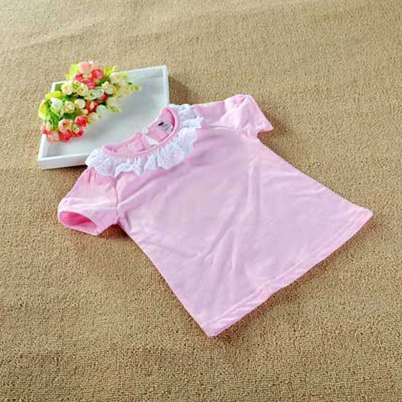 Fashion Kids Clothes Girls Summer T shirt Short Sleeve Children T-Shirt White Lace Collar Cotton Girls Top short sleeve lace panel top