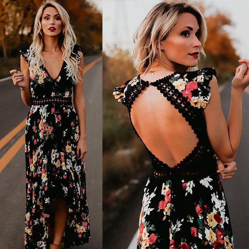 Autumn Women Fashion Maxi Irregular Boho Dress Summer Floral Print V-Neck Hem Dresses Holiday Bohemia Long Women Dress S-2XL