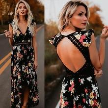 35e1a5fe30 Jesień kobiet moda Maxi nieregularne sukienka Boho lato Floral Print V-Neck  Hem suknie wakacje czechy długa suknia kobiety S-2XL