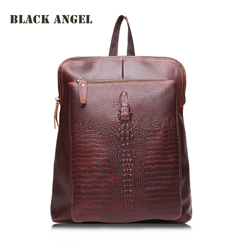 Fashion Mochila bag Crocodile pattern genuine leather backpack women travel bags Cowhide brown vintage Shoulder Bags new fashion women backpack genuine leather mochila colorful patchwork plaid pattern vintage schoolbag shoulder bag england style