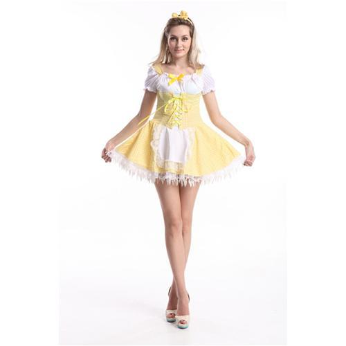 Free Shipping Cute Maid Costume Ball Gown Sexy Women Costume Lace Up Apron Women Costume Yellow Color ZT84654 Size S -xl