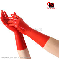 Sexy Pink Latex Rubber Gloves Women Gothic Fetish Clubwear S Gloves Hip Pop Jazz Wrist Five