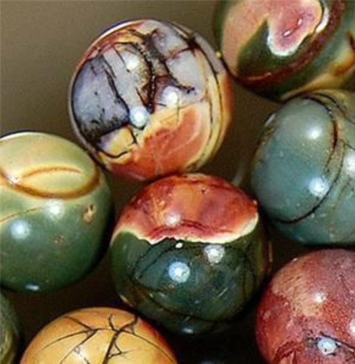 "Strand Multi-color Picasso Jasper Oval Loose Beads 15"""