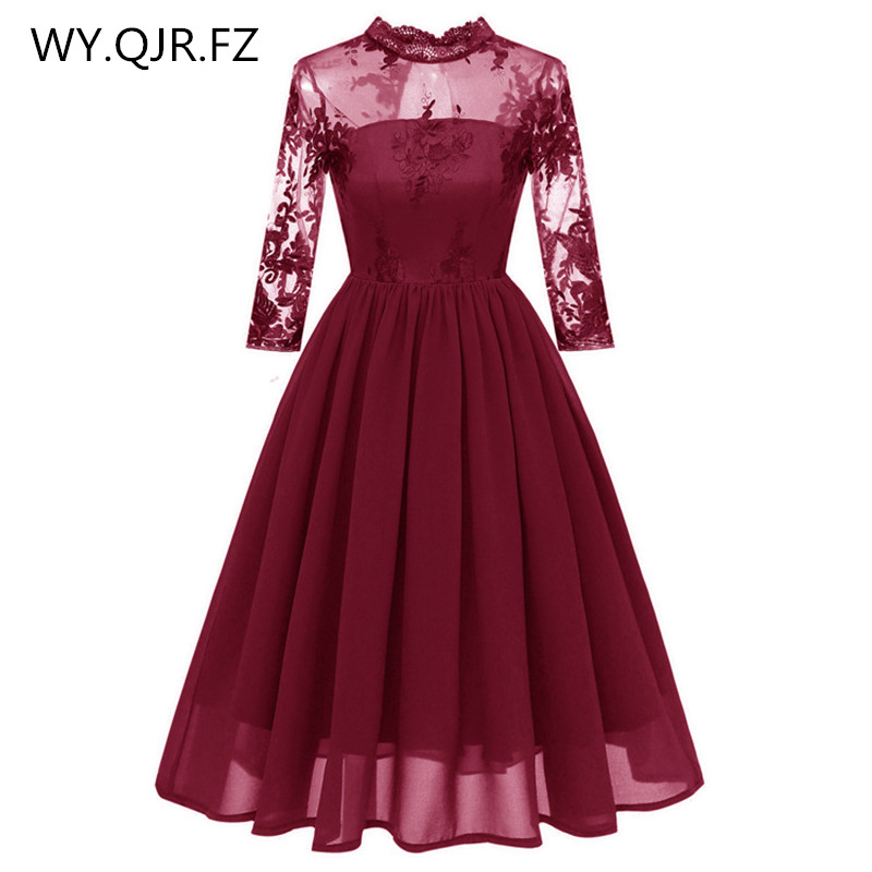 CD1661#Lace Embroidery Chiffon Short Pleated Bridesmaid Dresses Wine Red Wedding Party Dress Gown Prom Wholesale Fashion Clothes