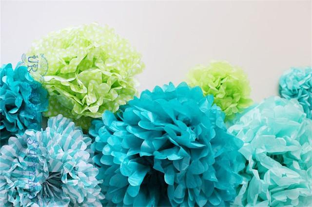 Us 175 2 27 Off 100pcs Tiffany Blue Tissue Paper Pompoms Giant 20inch 50cm Paper Flower For Birthday Party Weddings Bridal Baptism Decorations In