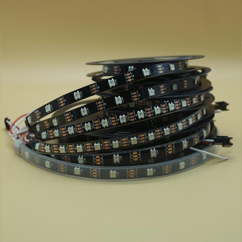 1m/5m WS2812B 30/60/144 leds/m Smartled pixel RGB individually addressable led strip light Black/White PCB WS2812 IC WS2812B 5V
