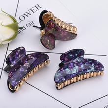 Fashion Women Hair Accessories High Grade Classic Flower Print Acrylic Paster Claw Summer Simple Plastic Gold Hairpin