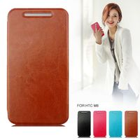 Wholesale 5Pcs Leather Phone Cases For HTC One M8 Flip Cell Cover Shell Phone For HTC One M8 Case Free Shipping