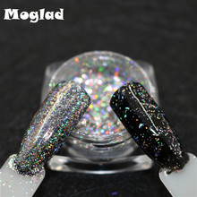 Moglad Top-Grade Galaxy Holo Flakes Laser Bling Rainbow Flecks Chrome Magic Effect Irregular Nail Art Glitter Powders
