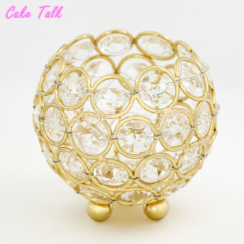 Wedding candle holders gold/silver crystal bowl glass 8*9cm tealight candle stand home decoration candy bar party supplier