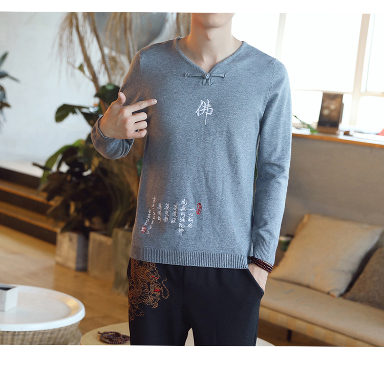 Chinese style Buddha embroidery Pull Homme Pullover Men spring autumn Casual sweater knit leisure Jersey Hombre Cotton v-neck 75