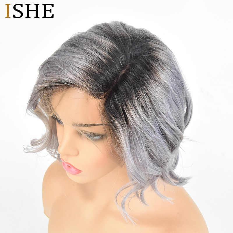 1B 613 блонд короткий парик с Омбре Цвет Серебряный серый свободная волна Remy человеческие волосы 13x6 волосы на фронте шнурка полные черные узлы для женщин