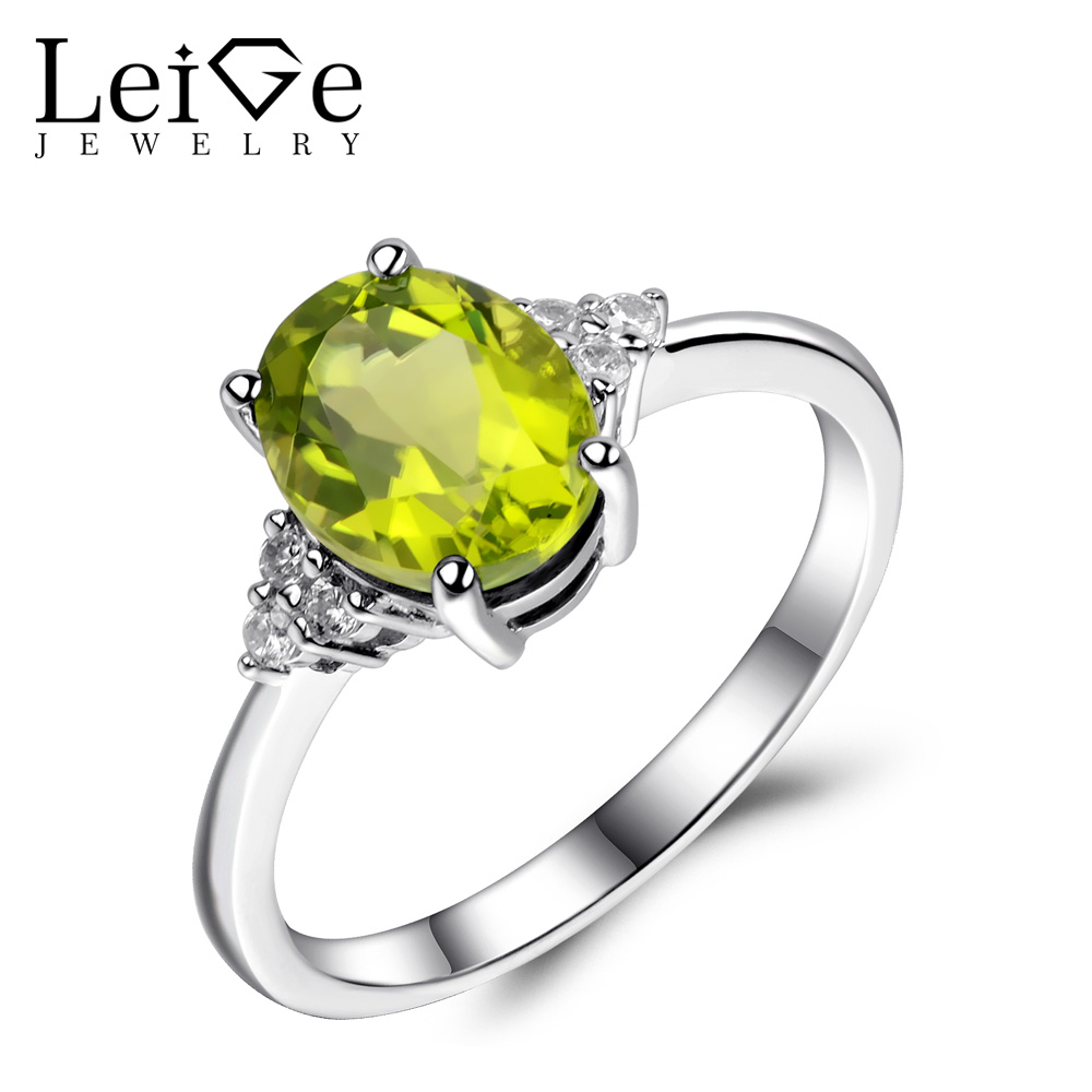 Leige Jewelry Real Peridot Ring 925 Sterling Silver Wedding Engagement Rings for Women Green Gemstone Oval Cut Fine Jewelry тумба neo 390 c slv