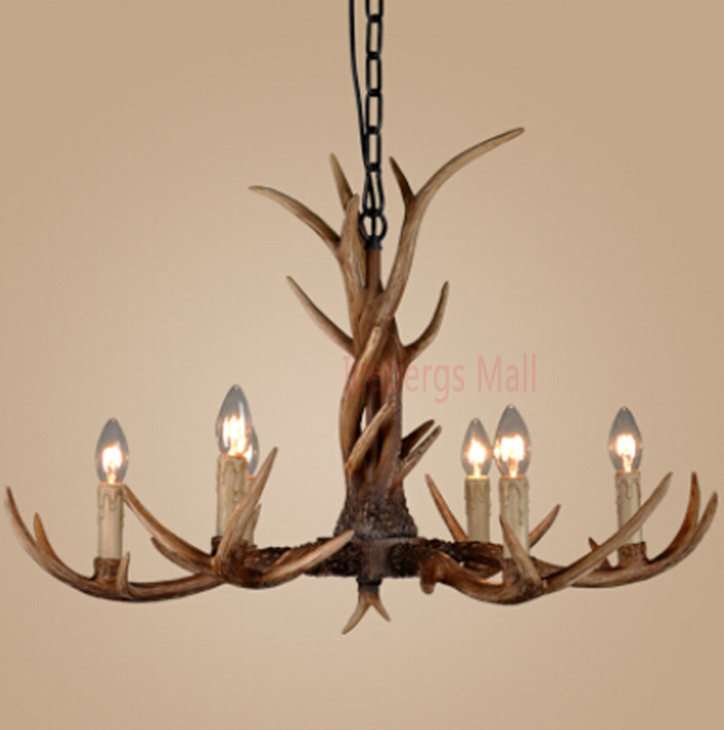 White/Black/Brown American 6 Heads Retro Resin Antler Bedroom Pendant Lamp Europe Country Ceiling Fixture Home Lighting