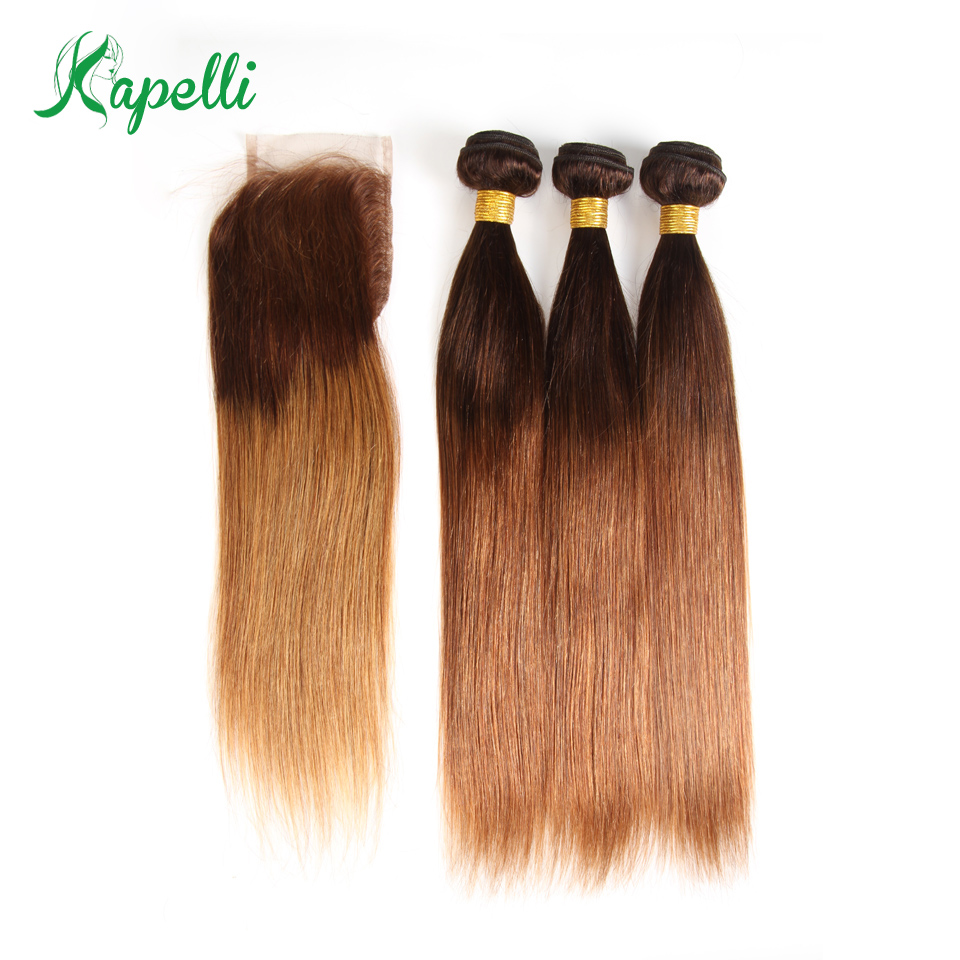 Ombre Bundles With Closure Brazilian Straight Hair Bundles With Closure Two Tone Ombre 3 Bundles With Closure Human Hair Remy