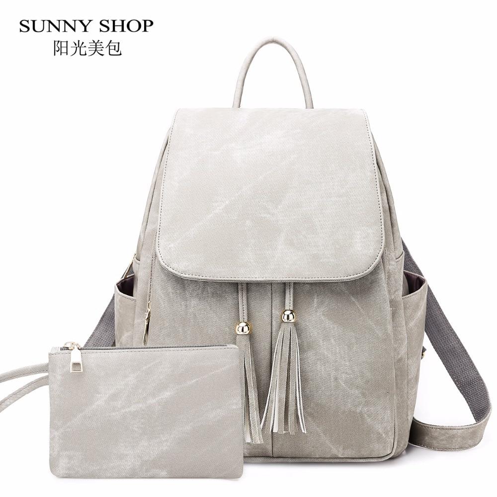 Vintage Matte Denim Suface Pu Leather Backpack Female Tassel Bagpack Women School Bag Set Notebook Book Bag Cute Waterproof