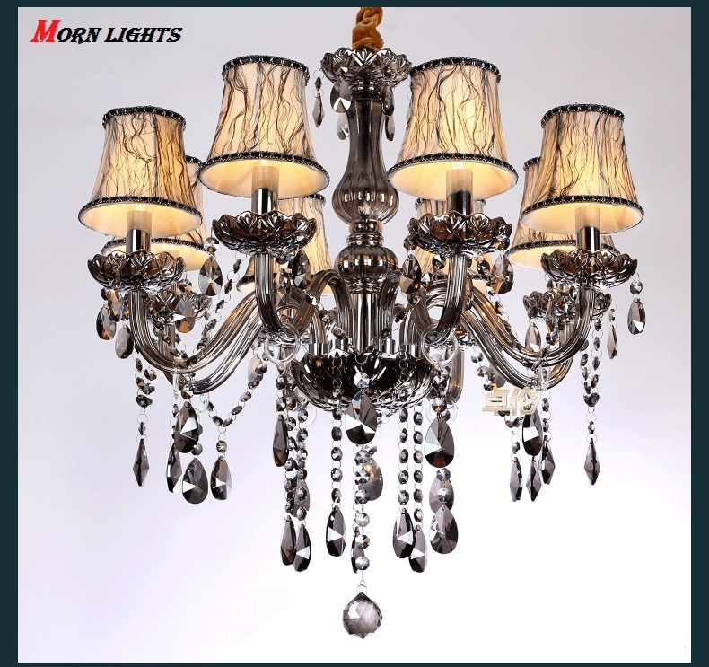 Free Shipping Chandelier crystal lighting fashion Chandeliers crystal modern smoky grey chandeliers lighting with Shade
