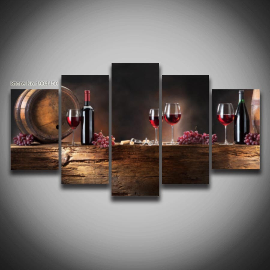 aliexpresscom buy printed wine glass grape picture modular painting modern wall art for kitche living room home decor bar artwork canvas prints from - Modern Wall Art Decor