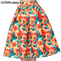 12 OAKS OF KATY Europe And America Fancy Hot Orange Floral Print Skirt High Waist Puff