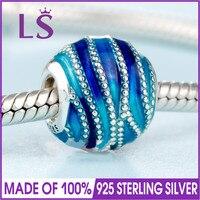 2018 Spring New Real 925 Silver BLUE SWIRLS CHARM Fit Original Bracelets Necklace DIY Gift Women