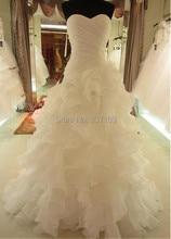 Реальная картина органза сердечком гофрирование свадьба платье / свадебное платье