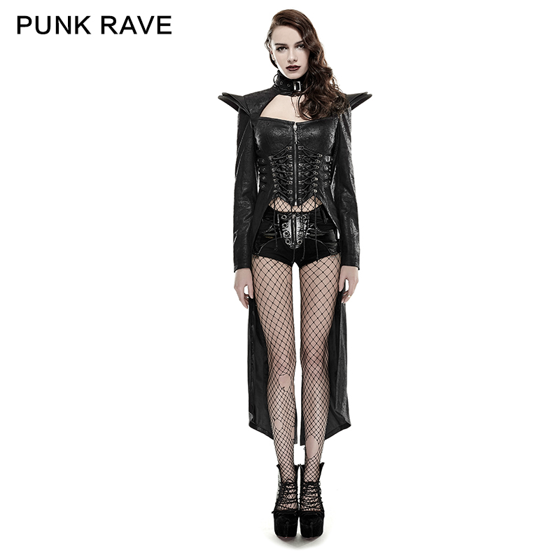 Punk Rave Female Black Goth Heavey Metal Military Steampunk Sexy Long Coat Jacket Y670