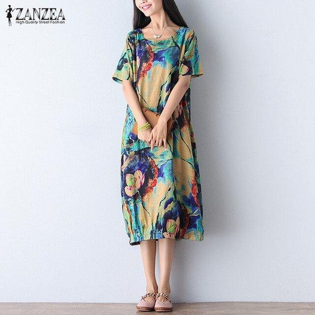 ZANZEA Women Dress 2018 Vintage Floral Print Mid-calf Dress Ladies Short Sleeve O Neck Loose Casual Vestidos Plus Size