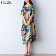 ZANZEA Women Dress 2017 Vintage Floral Print Mid-calf Dress Ladies Short Sleeve O Neck Loose Casual Vestidos Plus Size