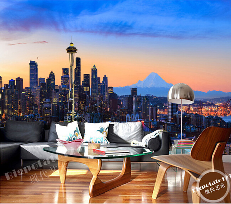 The latest 3D murals, New York city center at night, the bustling building, the living room TV sofa bedroom wall paper the latest 3d murals dream of the sun exposure forest trees stone waterfall scenery living room tv sofa bedroom wall paper