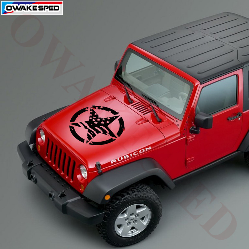 Sticker RED Decal Army Jeep Distressed Star Vinyl