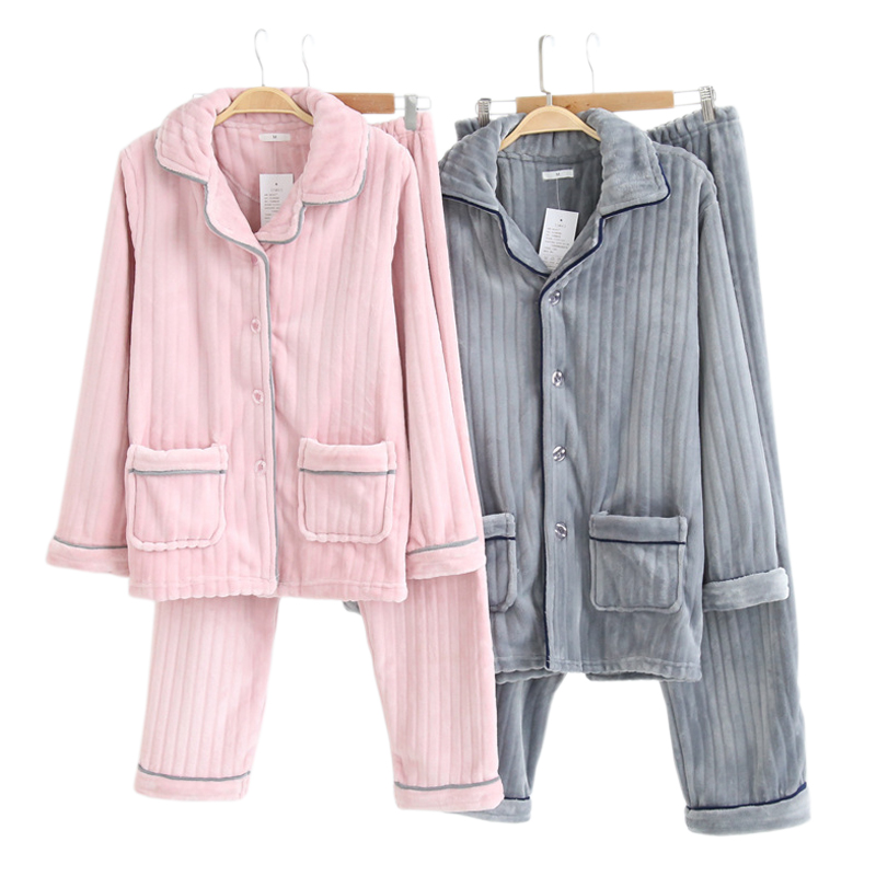 Fashion thicken stripe flannel couple warm pajamas women and men simple elegance long-sleeve warmth couple pyjamas Winter